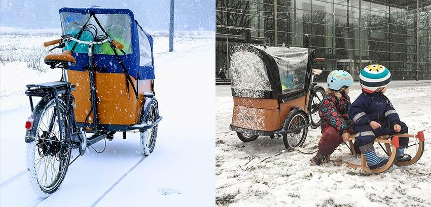 Tips cargo bike in the snow