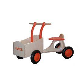 Babboe wooden run cargo bike orange